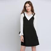 中大尺碼~性感V領假兩件式長袖洋裝(L~5XL)