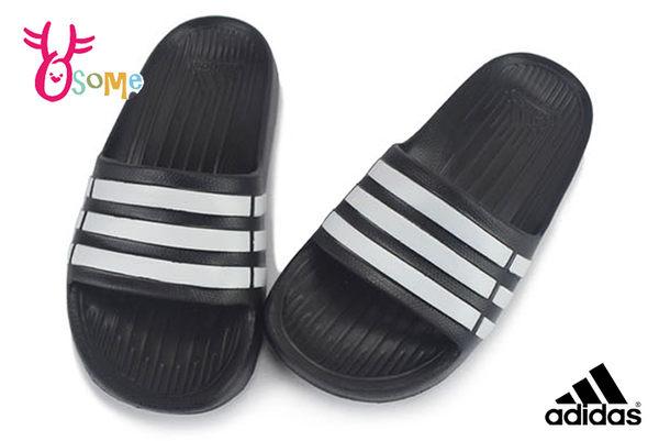ADIDAS拖鞋 成人女款 中大童 親子防水拖鞋 足弓  經典三線LOGO N9391#黑色◆OSOME奧森鞋業