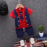 男童禮服 0夏款1男童周歲生日禮服套裝2寶寶英倫馬甲3嬰幼兒短袖小西裝4潮 小宅女