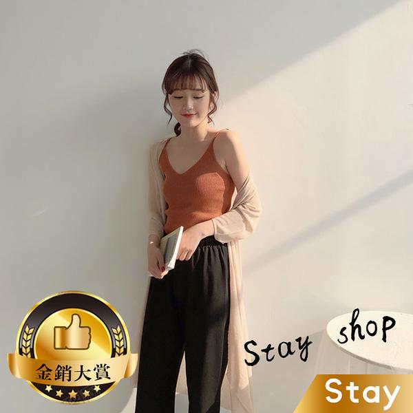 【Stay】韓版吊帶V領性感修身針織上衣 背心 小可愛 女裝 百搭素色 必備款 衣服【V101】