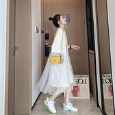 中長款網紗短袖t恤女假兩件潮ins超火寬松夏季很仙的連衣裙上衣服 依凡卡時尚