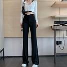喇叭褲 春夏季高腰喇叭褲女顯瘦寬鬆黑色闊腿褲修身直筒西裝褲拖地長褲子 晶彩