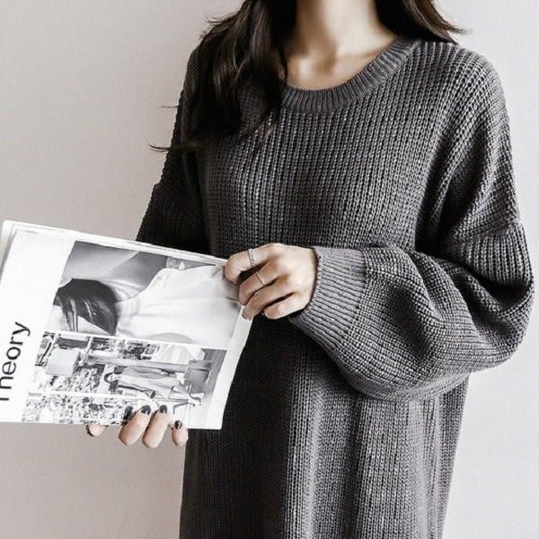 梨卡★現貨 - 圓領純色長版寬鬆側開叉毛衣長袖洋裝粗針織連身裙連身長裙/2色BR194