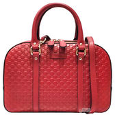 【GUCCI 古馳】510286 經典雙G緹花全皮革壓紋手提/斜背兩用包(紅色)