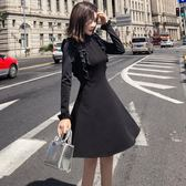 長袖洋裝秋冬新款荷葉邊連身裙8201GD3F-326-B依佳衣