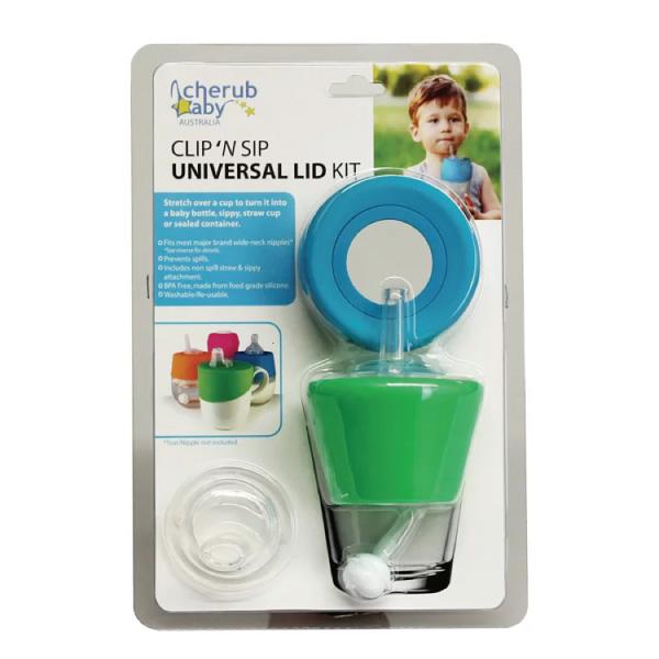 澳洲 Cherub Baby 萬用矽膠防漏杯蓋二入組(藍綠組)