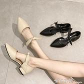 新款尖頭晚晚鞋女粗跟百搭仙女單鞋粗跟淺口網紅女鞋潮 雙十一全館免運