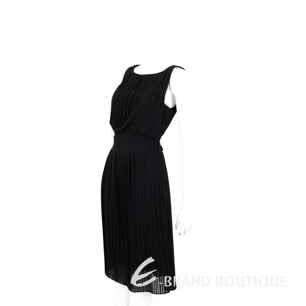 MARELLA 黑色雪紡百褶無袖洋裝 1620498-01