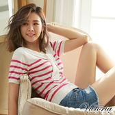 Victoria  假二件披領條紋短袖線衫-女-桃紅條紋