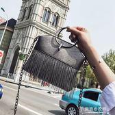包包女韓國夏季流蘇水桶包復古chic鍊條百搭單肩斜背包/側背包 【東京衣秀】