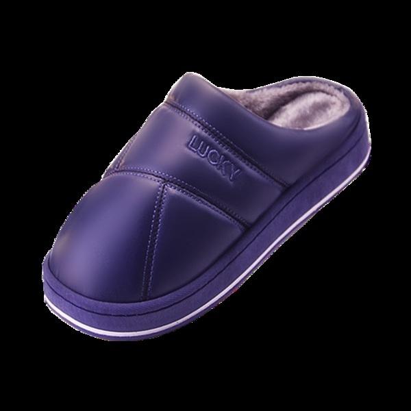 情侶棉拖鞋女防水厚底冬季居家室內防滑地板保暖PU皮家用拖鞋男