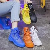 短靴新款短靴女ins潮夏季網紗透氣時尚百搭彩色馬丁靴鏤空涼靴火(快速出貨)
