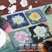 餐桌墊 牡丹四小品杯墊 宜家簡約創意餐桌墊席布茶墊茶道配件隔熱防滑墊 流行花園