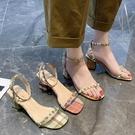 高跟鞋女粗跟夏季新款韓版鉚釘網紅仙女扣帶百搭羅馬涼鞋 【全館免運】
