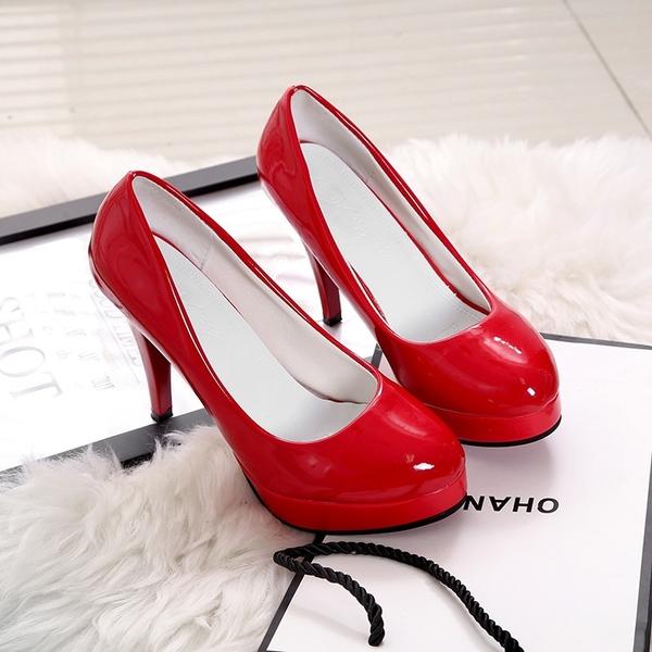 10cm圓頭高跟鞋女2020春新款細跟淺口性感漆皮工作鞋防水台單鞋女 新年慶