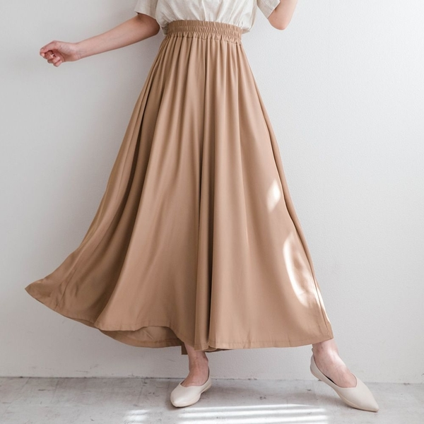 MIUSTAR 仙女在穿的垂墜感鬆緊腰傘狀寬褲(共3色)【NJ1691】預購