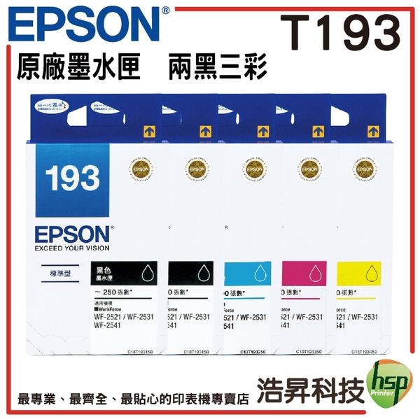EPSON T193 (T193) 原廠墨水匣 盒裝 兩黑三彩組合 適用 WF-2521/WF-2631/WF-2651/WF-2531