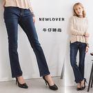 中大尺碼-喇叭褲NEWLOVER牛仔時尚【161-6120】簡單刷色深藍雜誌款S-2L