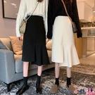 熱賣半身魚尾裙 黑色設計感小眾半身裙女2021年春季新款小個子裙子輕熟魚尾裙長裙 coco