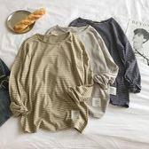 韓版春季條紋長袖T恤男寬鬆薄款圓領打底衫