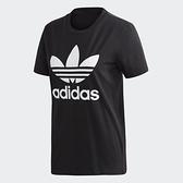 ADIDAS 短袖 T恤 TREFOIL TEE 黑 白 大LOGO 三葉草 運動 上衣 女(布魯克林) FM3311