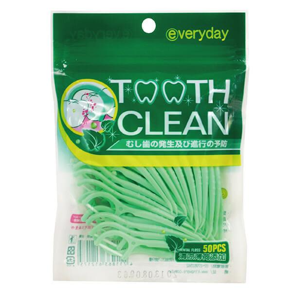 【everyday日潔】薄荷超韌扁線牙線棒 50支 潔牙 齒間清潔 外出攜帶 便攜 台灣製