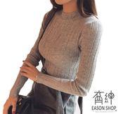 EASON SHOP(GU8672)韓版純色坑條紋小高領羅紋針織毛衣長袖上衣女上衣服彈力貼身內搭衫短版灰色駝色
