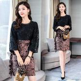 VK精品服飾 韓國風金絲絨拼接銀線蕾絲包臀百褶顯瘦長袖洋裝