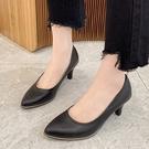 尖頭鞋.MIT韓風極簡皮革金屬邊高跟包鞋.白鳥麗子