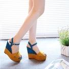 厚底涼鞋 2021新款磨砂坡跟涼鞋女夏高跟優雅公主鬆糕厚底防水臺露趾女鞋潮 艾維朵