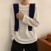 白色t恤2019初秋新款韓版基礎寬鬆長袖打底衫百搭純色圓領上衣女