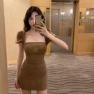 夜店洋裝 法式桔梗夏季網紗性感包臀收腰短裙女新款復古氣質連身裙 快速出貨