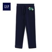Gap女嬰幼童 Logo鬆緊腰抽繩運動褲 491048-海軍藍色