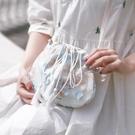 帆布包 包包女2020新款森系小包帆布斜挎包中國風仙女荷包漢服古風單肩包【快速出貨】