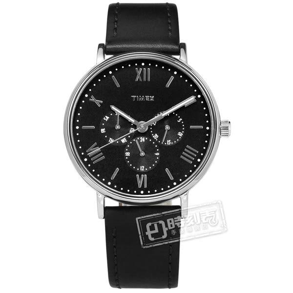 TIMEX 天美時 / TXTW2R29000 / 羅馬刻度 三眼設計 礦石強化玻璃 日期 星期視窗 真皮手錶 黑色 41mm