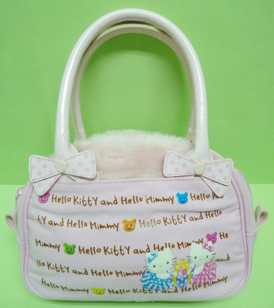 【震撼精品百貨】Hello Kitty 凱蒂貓 & Hello Mimmy ~手提袋『粉毛毛蝴蝶結』