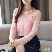 蕾絲雪紡衫長袖女新款大碼秋裝韓版超仙氣質網紗上衣洋氣小衫潮 mt6851『miss洛羽』