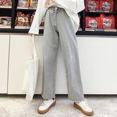 寬鬆慵懶百搭直筒闊腿休閒長褲女裝韓版春裝學生百搭松緊腰運動褲『小淇嚴選』