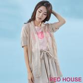 【RED HOUSE 蕾赫斯】櫻花雪紡拼接針織罩衫(淺卡其)