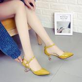 低跟涼鞋女新品夏正韓百搭包頭細跟小跟鞋尖頭一字扣高跟女鞋 三色34-39(限時八八折)