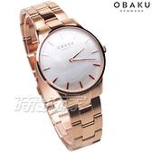 OBAKU 源自丹麥 風格簡約 永恆設計 珍珠螺貝面盤 玫瑰金色 不銹鋼 女錶 V247LXVWSV