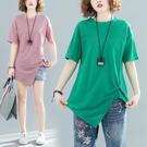 中大尺碼T恤 微胖妹妹大碼遮肚T恤女短袖2021新款夏裝寬鬆顯瘦純色不規則上衣