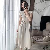 無袖洋裝-V領高腰綁帶大碼女連身裙2色74az7[巴黎精品]