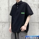 Polo衫 貼布純色短袖POLO衫T恤男加肥加大碼潮胖子寬鬆體翻領夏季裝簡約 城市科技