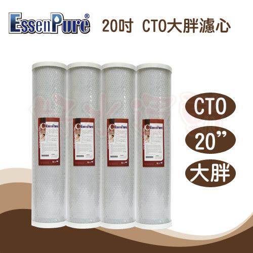 水蘋果居家淨水~快速到貨~EssenPure高品質20英吋大胖 CTO 活性碳濾心(4支組)