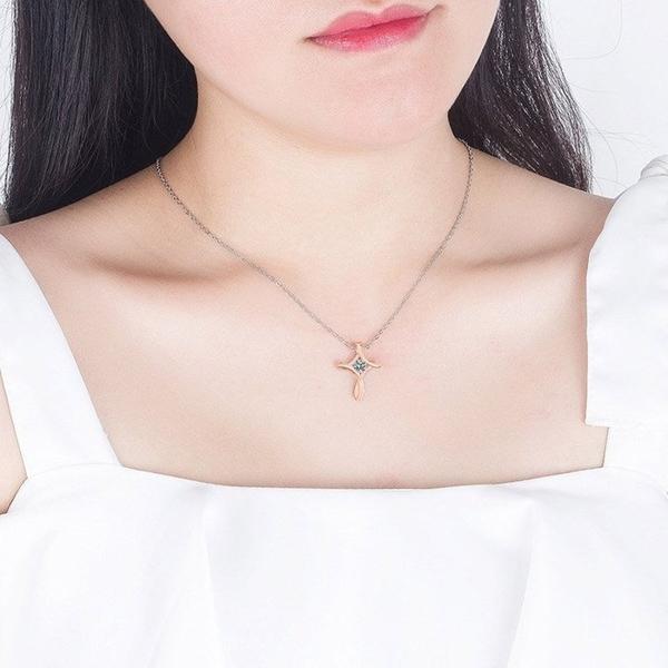 S925耶穌之愛幾何曲線仿真鑽莫桑石0.4克拉鑽石十字架(玫瑰金)