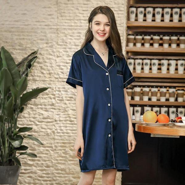 ef545c69afd 紡真絲性感女士睡裙夏季絲綢襯衫女性感睡衣家居服《小師妹》yf670 | 小 ...