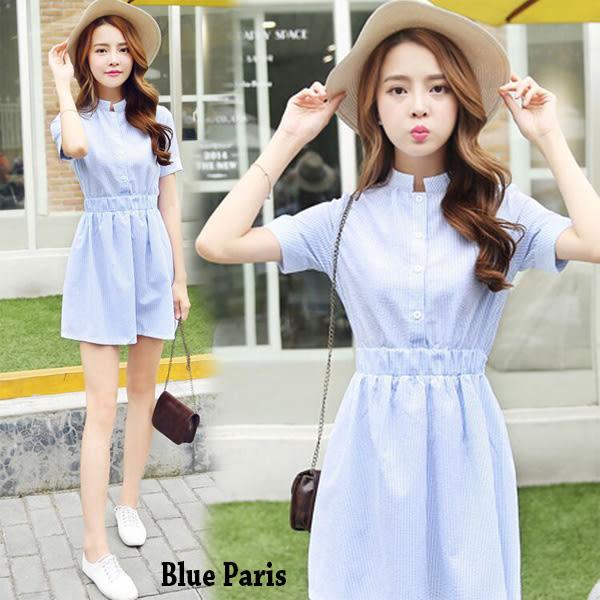 洋裝 學院風立領條紋棉麻短袖連衣裙 【28058】Blue Paris