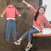 全館83折 女童秋裝套裝2018新款兒童裝洋氣韓版大學T兩件套時尚大童時髦潮衣