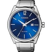 CITIZEN 星辰 光動能極簡大三針手錶-藍x銀/42mm BM7411-83L